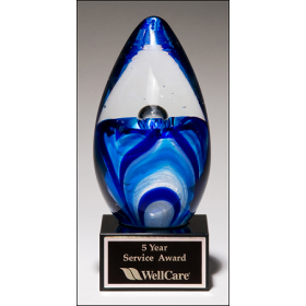 Egg-Shaped Blue and White Art Glass Award