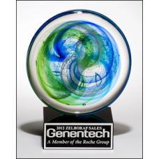 Blue & Green Art Glass Disc Award