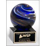 Blue & Metallic Glass Globe Award