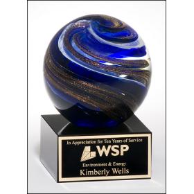 Blue & Metallic Glass Globe Award