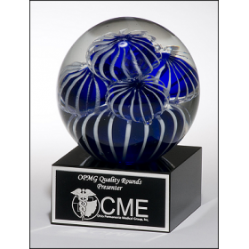 Blue & White Art Glass Globe Award