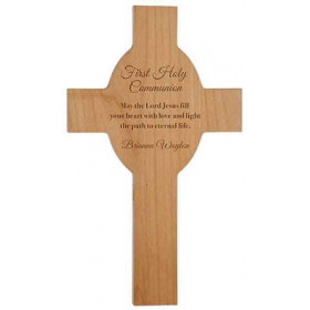 "13"" Wood Cross with Engravable Center"