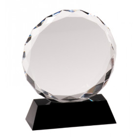 Round Facet Crystal on Black Pedestal Base