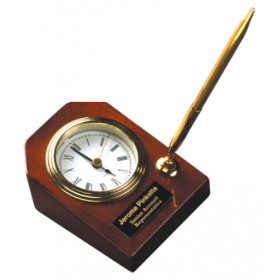 Rosewood Desk Clock with Pen