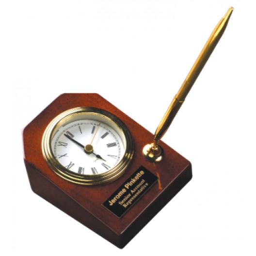 Rosewood Desk Clock with Pen