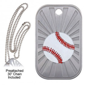Dog Tag & Chain - Baseball