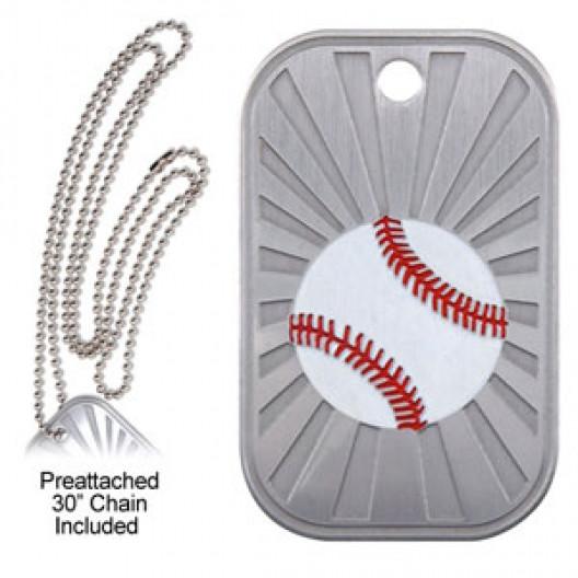 Dog Tag & Chain - Baseball