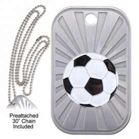 Dog Tag & Chain - Soccer