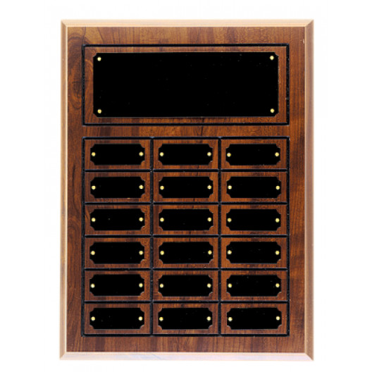 Royal Wood Plaque with 18 Tags