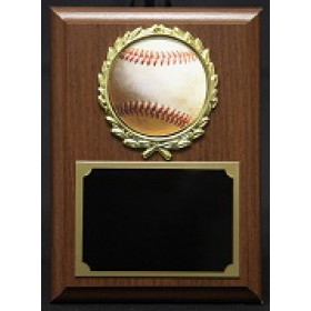 Royal Wood Plaque with Sports Image in a Gold Wreath