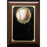 "Baseball Plaque with Wreath - 5"" x 7"""