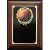 "Basketball Plaque with Wreath - 5"" x 7"""