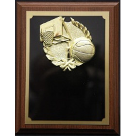 "Basketball Plaque with Gold Basketball Mount - 7"" x 9"""