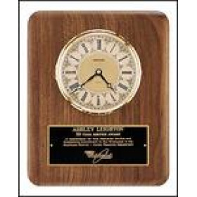Walnut Plaque with Gold Clock Insert