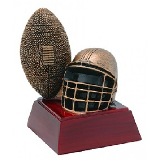 "Football & Helmet 4"" Resin"