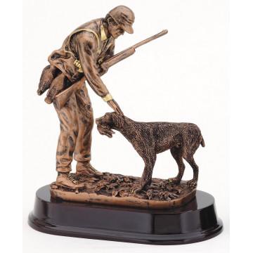 "Hunter with Dog Resin - 9.75"""