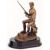 Fisherman Sitting Resin - 8.5""