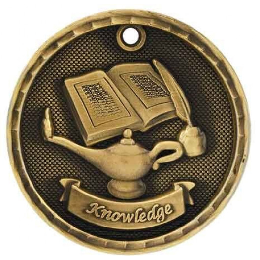 3D Academic Medal - Lamp of Knowledge