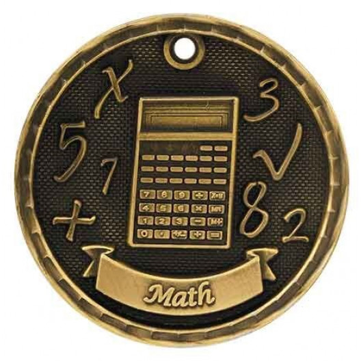 3D Academic Medal - Math