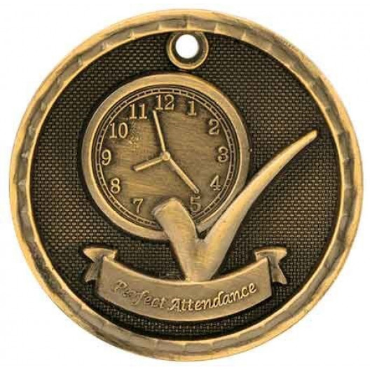 3D Academic Medal - Perfect Attendance
