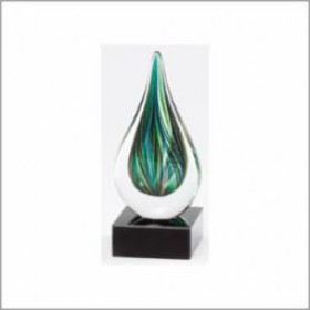 "Green Art Glass 7"" Drop"