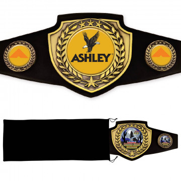 Antique Gold Championship Shield Award Belt