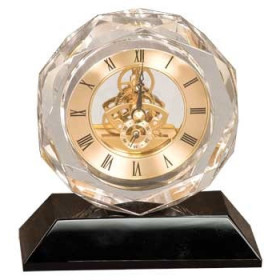 Clear Crystal Clock on Black Pedestal Base