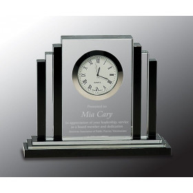 Clear Crystal with Clock with Black Crystal Trim