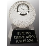 Clear Crystal Golf Ball Clock with Black Pedestal Base