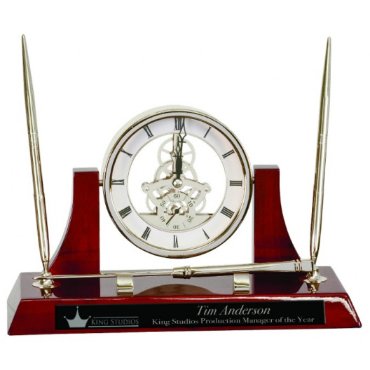 Executive Rosewood Piano Finish Clock w/ 2 Pens/Letter Opener