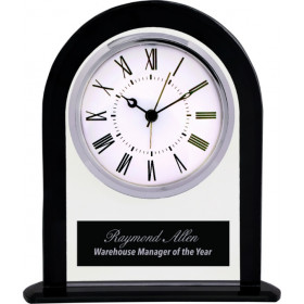 Black & Clear Glass Arch Clock