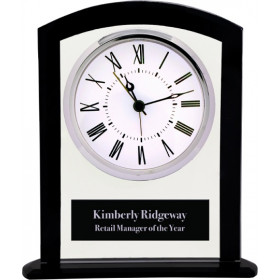 Black & Clear Glass Square Arch Clock