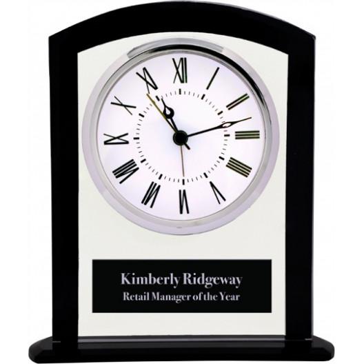Black & Clear Glass Square Arch Clock