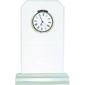 Clipped Corner Clear Glass Clock with Clear Base