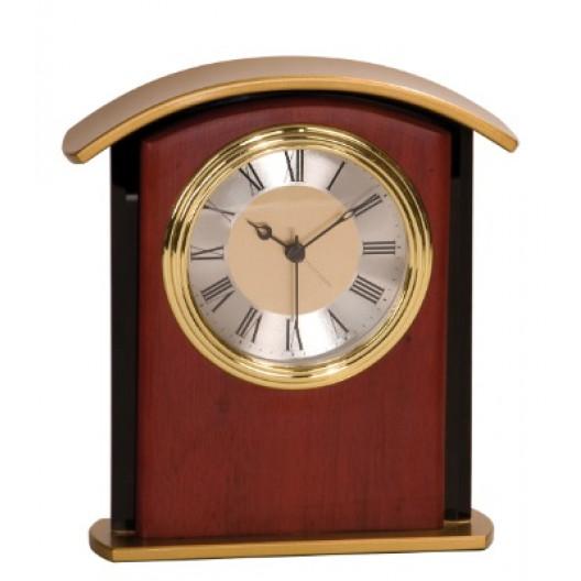 Mahogany Finish Gold Top Clock