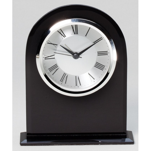 Black Glass Domed Clock
