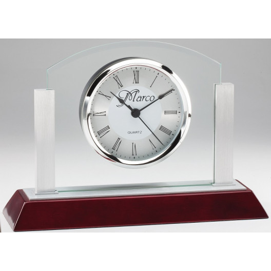 Glass/Aluminum Desk Clock