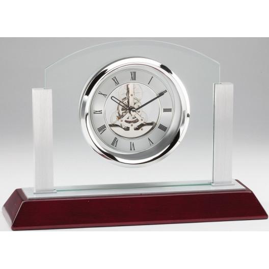 Skeleton Glass/Aluminum Clock