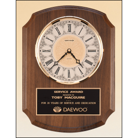 American Walnut Plaque with Brass Clock Insert
