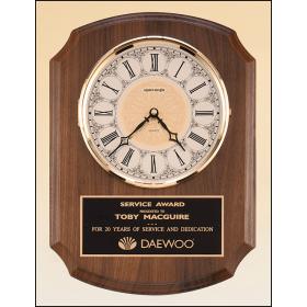 American Walnut Plaque with Brass Clock Insert