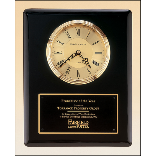 Black Piano Plaque with Gold Clock Insert