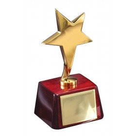 Gold Star on Rosewood Trophy