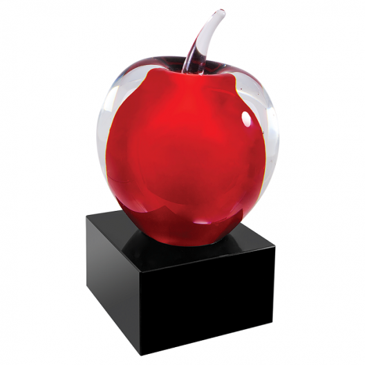 Red and Clear Glass Apple with Black Base
