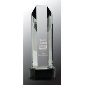 Octagon Slant-Top Crystal on Black Pedestal Base