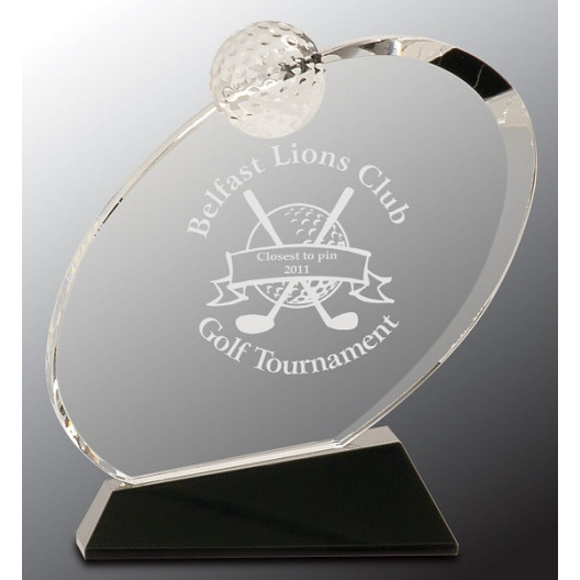 Clear Crystal Oblong Golf Award on Black Crystal Base