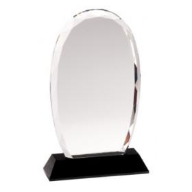 Oval Facet Crystal on Black Pedestal Base