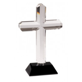 Crystal Cross on Blue or Black Pedestal Base