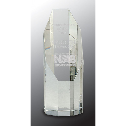 Clear Octagon Slant-Top Crystal Tower
