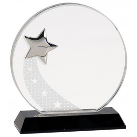 Round Crystal with Silver Star on Black Pedestal Base