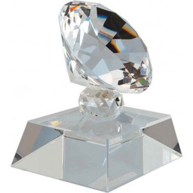 Crystal Diamond on Clear or Black Pedestal Base